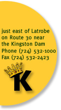 east of latrobe on route 30 near the kingston dam. 724-532-1000